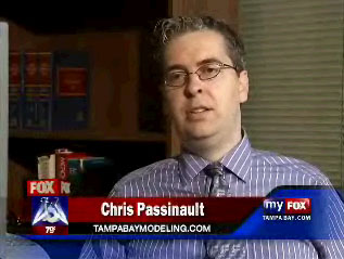 Florida Models Editor C. A. Passinault during a television interview.