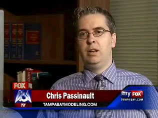 C. A. Passinault, modeling expert and director of Florida Models, interviewed on the news.